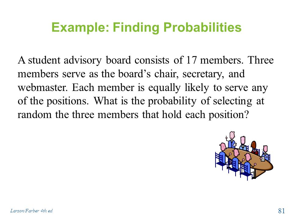 Example: Finding Probabilities A student advisory board consists of 17 members.
