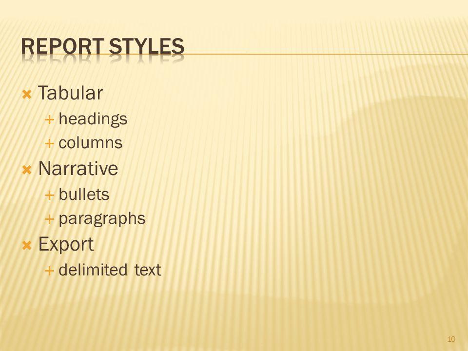 10  Tabular  headings  columns  Narrative  bullets  paragraphs  Export  delimited text
