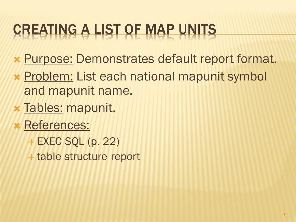 14  Purpose: Demonstrates default report format.