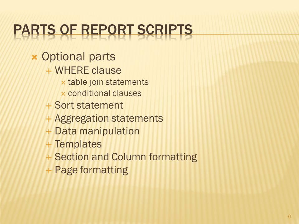 7  Data manipulation  Multiple queries  DERIVE statements  DEFINE statements  INTERPRET statements  PARAMETER statements