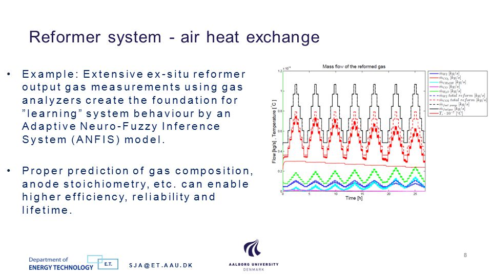 Reformer system - air heat exchange SJA@ET.AAU.DK 8 Example: Extensive ex-situ reformer output gas measurements using gas analyzers create the foundation for learning system behaviour by an Adaptive Neuro-Fuzzy Inference System (ANFIS) model.
