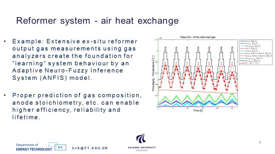 Reformer system - air heat exchange SJA@ET.AAU.DK 8 Example: Extensive ex-situ reformer output gas measurements using gas analyzers create the foundat