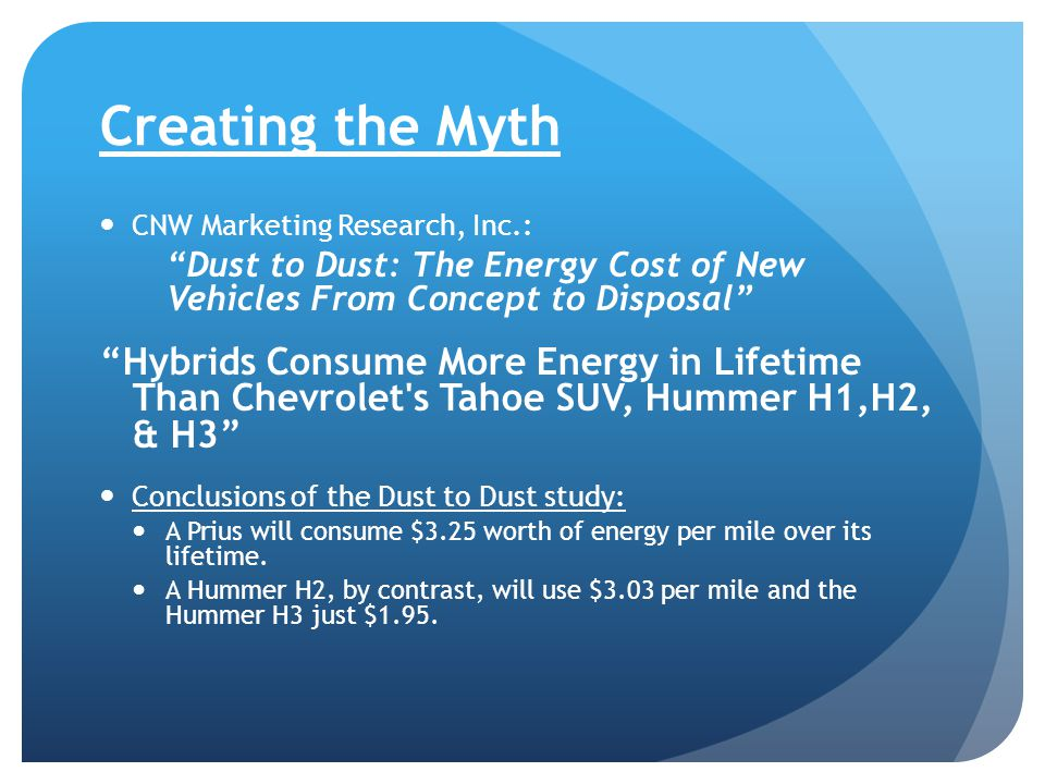 Creating the Myth CNW Marketing Research, Inc.: Dust to Dust: The Energy Cost of New Vehicles From Concept to Disposal Hybrids Consume More Energy in Lifetime Than Chevrolet s Tahoe SUV, Hummer H1,H2, & H3 Conclusions of the Dust to Dust study: A Prius will consume $3.25 worth of energy per mile over its lifetime.
