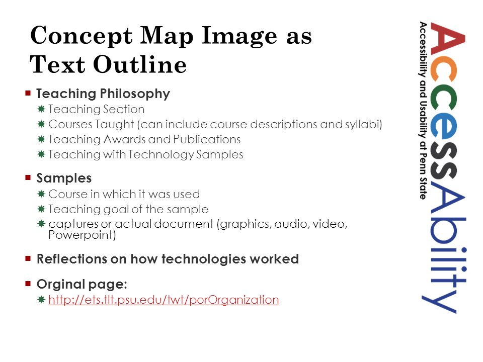 Concept Map Image as Text Outline  Teaching Philosophy  Teaching Section  Courses Taught (can include course descriptions and syllabi)  Teaching Awards and Publications  Teaching with Technology Samples  Samples  Course in which it was used  Teaching goal of the sample  captures or actual document (graphics, audio, video, Powerpoint)  Reflections on how technologies worked  Orginal page:  http://ets.tlt.psu.edu/twt/porOrganization http://ets.tlt.psu.edu/twt/porOrganization