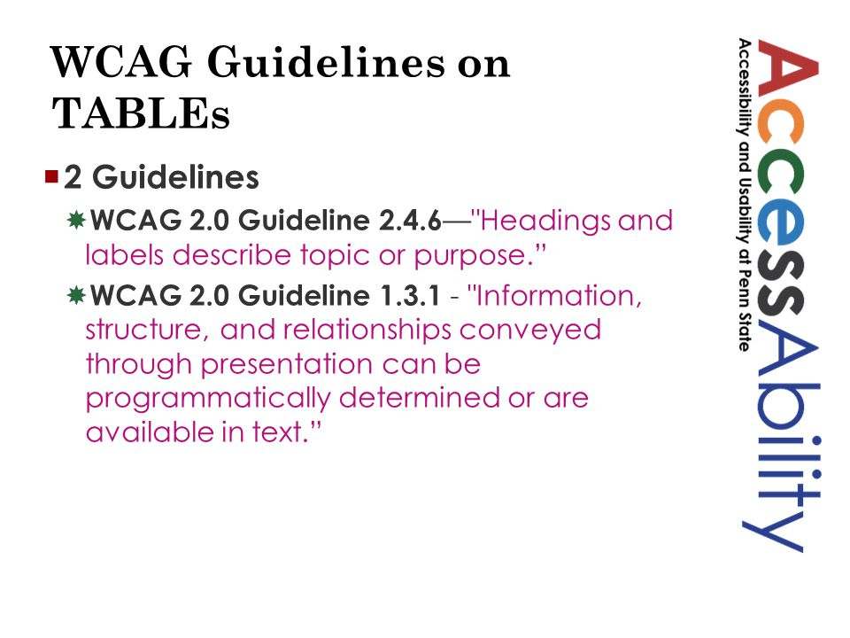 WCAG Guidelines on TABLEs  2 Guidelines  WCAG 2.0 Guideline 2.4.6 — Headings and labels describe topic or purpose.  WCAG 2.0 Guideline 1.3.1 - Information, structure, and relationships conveyed through presentation can be programmatically determined or are available in text.