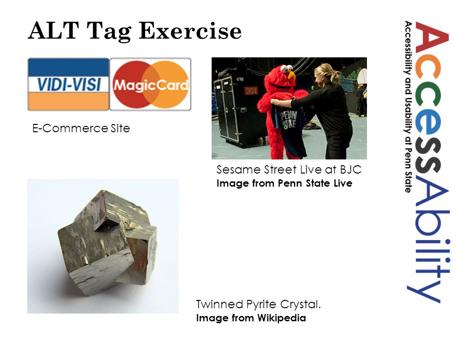 ALT Tag Exercise E-Commerce Site Sesame Street Live at BJC Image from Penn State Live Twinned Pyrite Crystal.