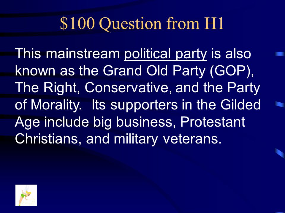 This mainstream political party is also known as the Grand Old Party (GOP), The Right, Conservative, and the Party of Morality.