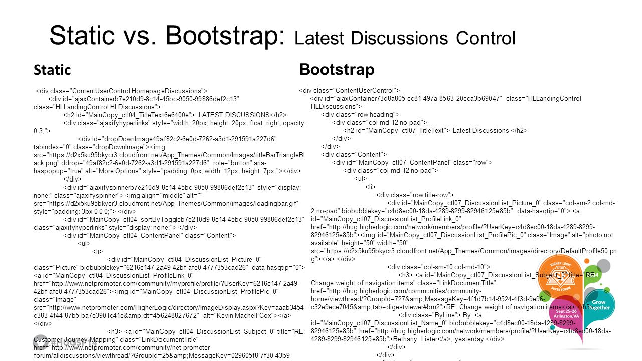 Static vs. Bootstrap: Latest Discussions Control Bootstrap Latest Discussions RE: Change weight of navigation items By: Bethany Lister, yesterday Post