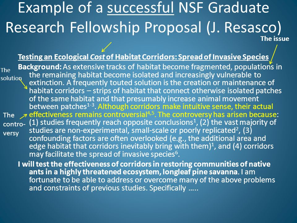 Example of a successful NSF Graduate Research Fellowship Proposal (J.