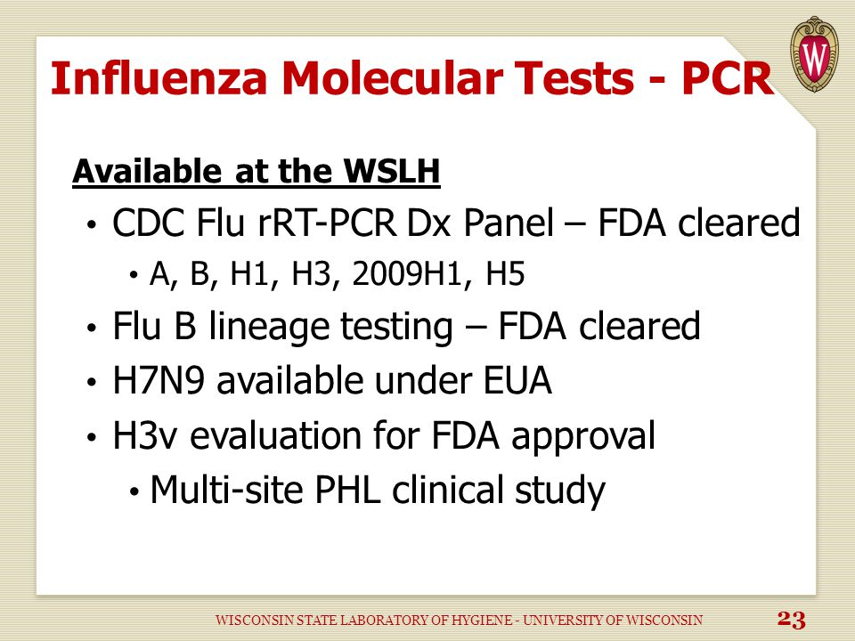 Influenza Molecular Tests - PCR Available at the WSLH CDC Flu rRT-PCR Dx Panel – FDA cleared A, B, H1, H3, 2009H1, H5 Flu B lineage testing – FDA cleared H7N9 available under EUA H3v evaluation for FDA approval Multi-site PHL clinical study WISCONSIN STATE LABORATORY OF HYGIENE - UNIVERSITY OF WISCONSIN 23