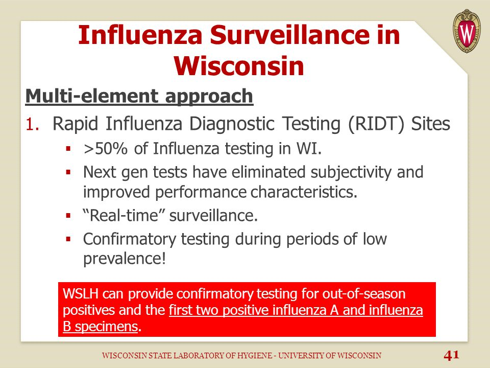 Influenza Surveillance in Wisconsin Multi-element approach 1.