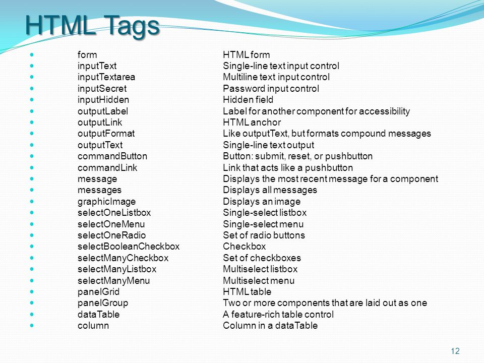HTML Tags formHTML form inputTextSingle-line text input control inputTextareaMultiline text input control inputSecretPassword input control inputHiddenHidden field outputLabelLabel for another component for accessibility outputLinkHTML anchor outputFormatLike outputText, but formats compound messages outputTextSingle-line text output commandButtonButton: submit, reset, or pushbutton commandLinkLink that acts like a pushbutton messageDisplays the most recent message for a component messagesDisplays all messages graphicImageDisplays an image selectOneListboxSingle-select listbox selectOneMenuSingle-select menu selectOneRadioSet of radio buttons selectBooleanCheckboxCheckbox selectManyCheckboxSet of checkboxes selectManyListboxMultiselect listbox selectManyMenuMultiselect menu panelGridHTML table panelGroupTwo or more components that are laid out as one dataTableA feature-rich table control columnColumn in a dataTable 12