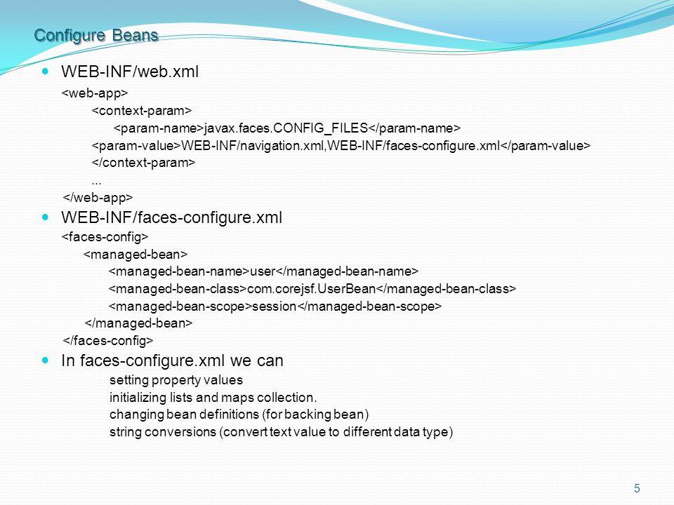 Configure Beans WEB-INF/web.xml javax.faces.CONFIG_FILES WEB-INF/navigation.xml,WEB-INF/faces-configure.xml...
