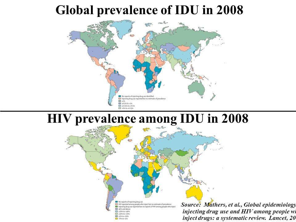 Global prevalence of IDU in 2008 HIV prevalence among IDU in 2008 Source: Mathers, et al., Global epidemiology of injecting drug use and HIV among people who inject drugs: a systematic review.