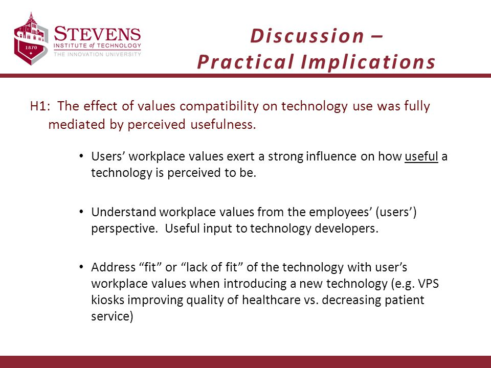 Discussion – Practical Implications H1: The effect of values compatibility on technology use was fully mediated by perceived usefulness. Users' workpl
