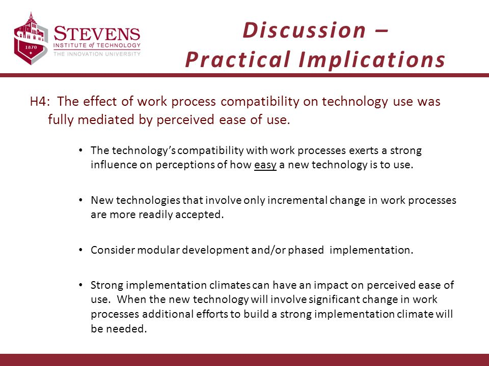 Discussion – Practical Implications H4: The effect of work process compatibility on technology use was fully mediated by perceived ease of use.