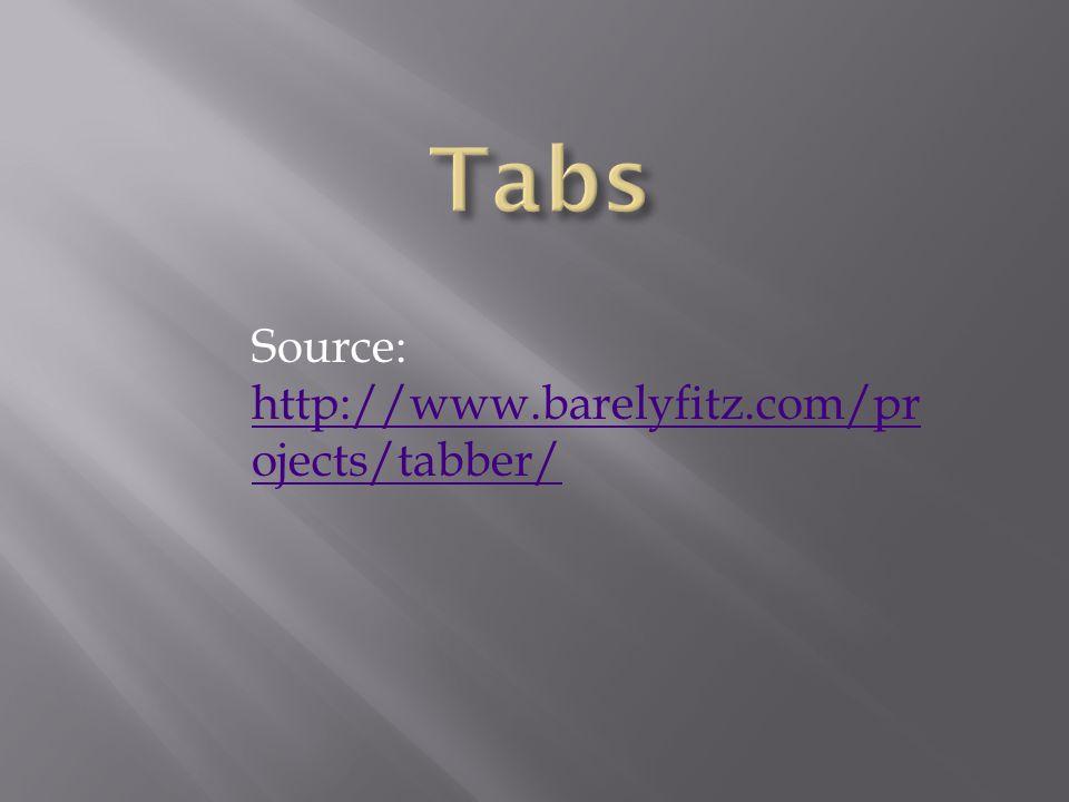 Source: http://www.barelyfitz.com/pr ojects/tabber/ http://www.barelyfitz.com/pr ojects/tabber/
