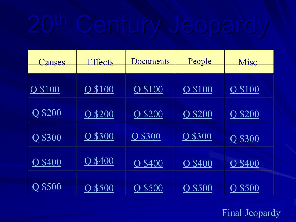 20th Century Jeopardy CausesEffects DocumentsPeople Misc Q $100 Q $200 Q $300 Q $400 Q $500 Q $100 Q $200 Q $300 Q $400 Q $500 Final Jeopardy