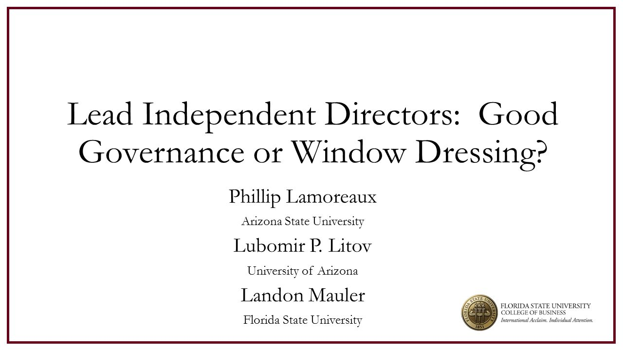 LID and Board Effectiveness: LIDs can enhance effectiveness of the board better board meeting planning.