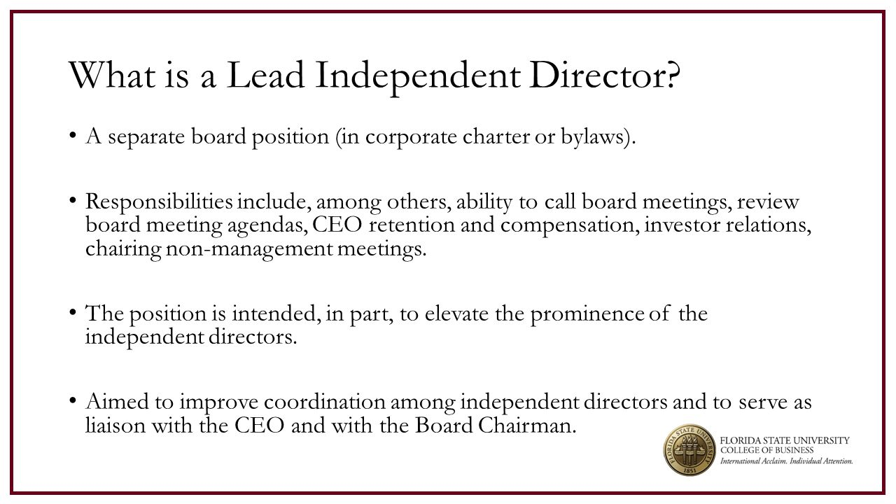 15 Identify determinants for firms appointing an LID.