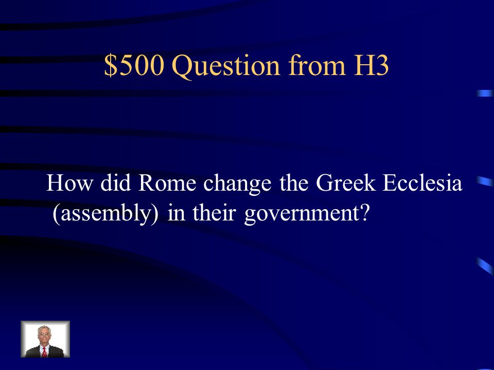$400 Answer from H3 oligarchy