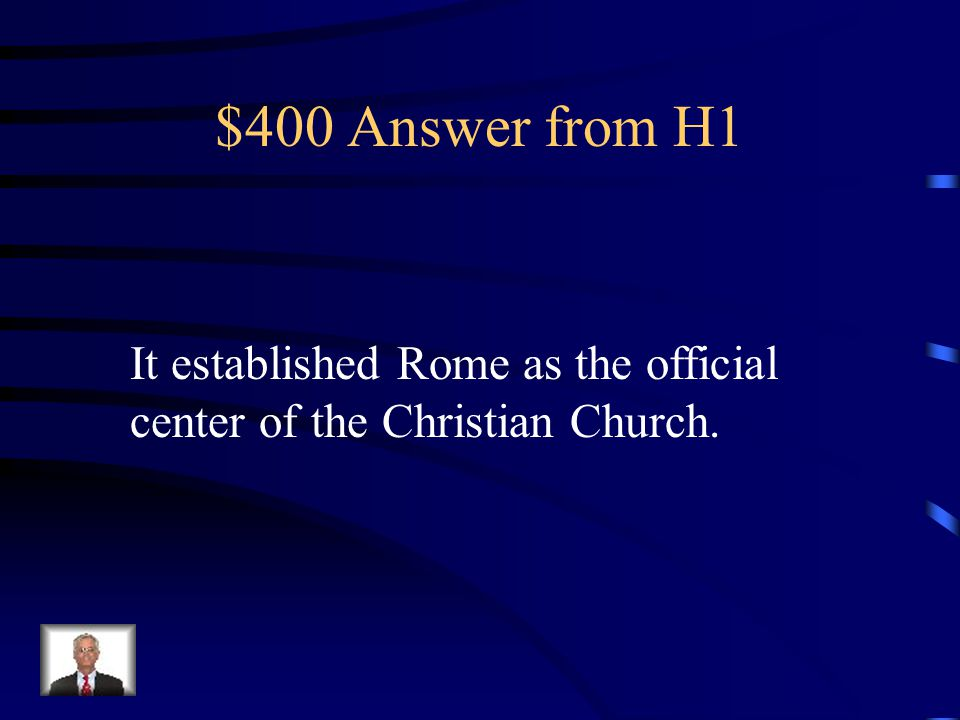 $400 Question from H1 How did the Edict of Milan influence or affect the Roman Empire?