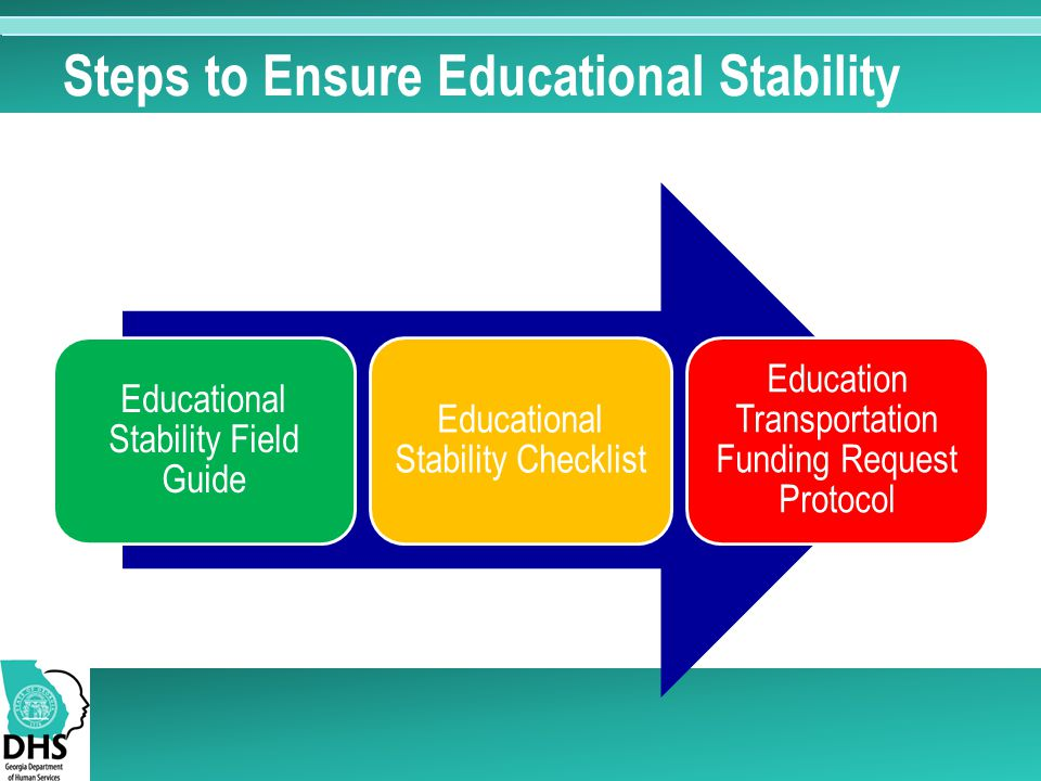 Steps to Ensure Educational Stability Educational Stability Field Guide Educational Stability Checklist Education Transportation Funding Request Protocol