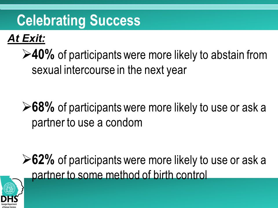 Celebrating Success  40% of participants were more likely to abstain from sexual intercourse in the next year  68% of participants were more likely to use or ask a partner to use a condom  62% of participants were more likely to use or ask a partner to some method of birth control At Exit: