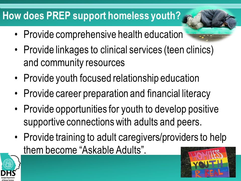 How does PREP support homeless youth.