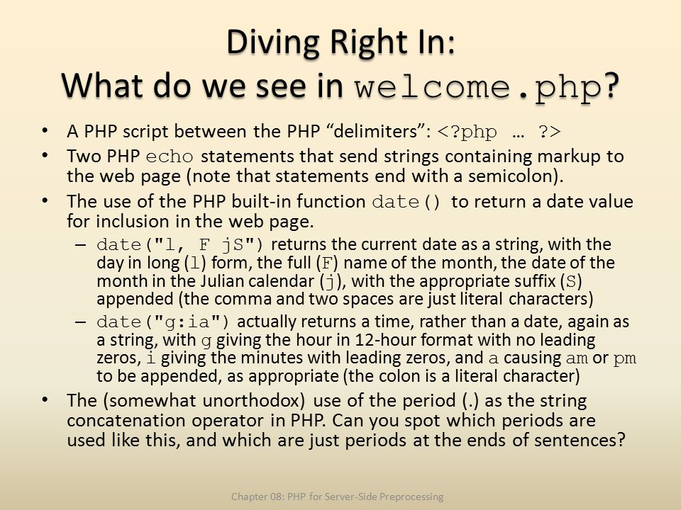 Diving Right In: What do we see in welcome.php .