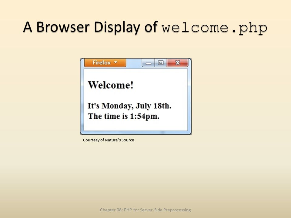 A Browser Display of welcome.php Chapter 08: PHP for Server-Side Preprocessing Courtesy of Nature's Source