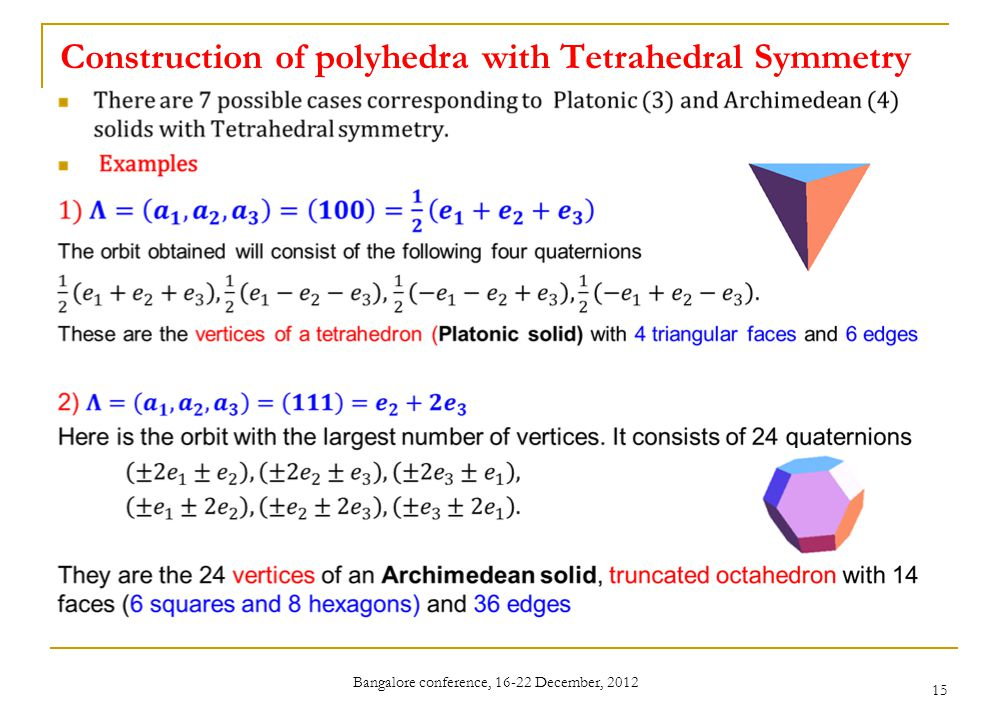 Construction of polyhedra with Tetrahedral Symmetry Bangalore conference, 16-22 December, 2012 15
