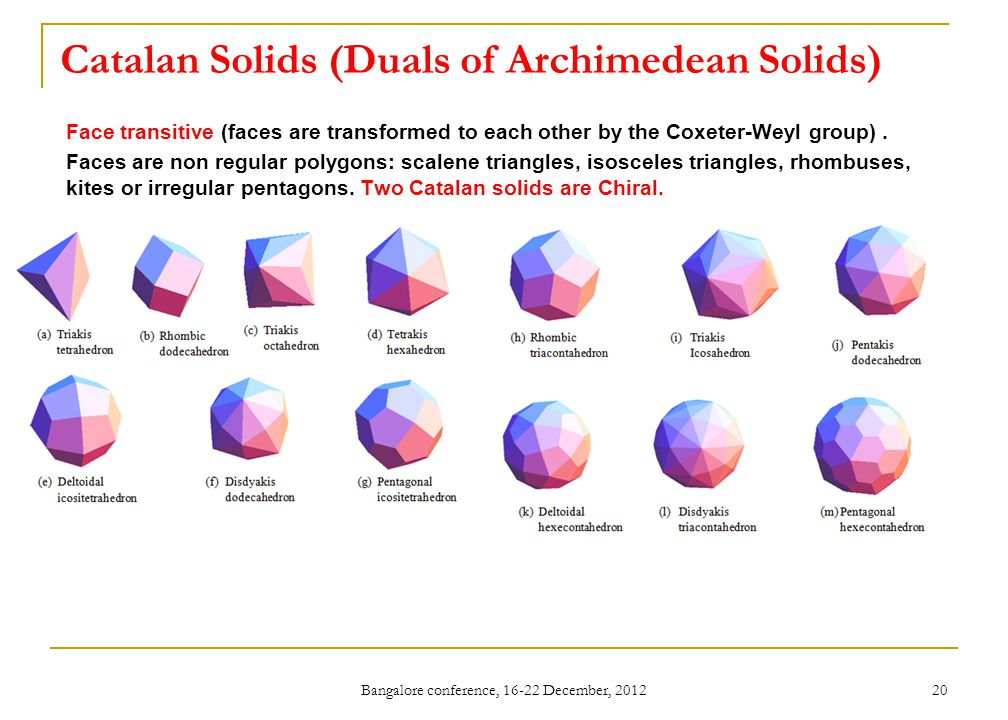 Catalan Solids (Duals of Archimedean Solids) Face transitive (faces are transformed to each other by the Coxeter-Weyl group). Faces are non regular po
