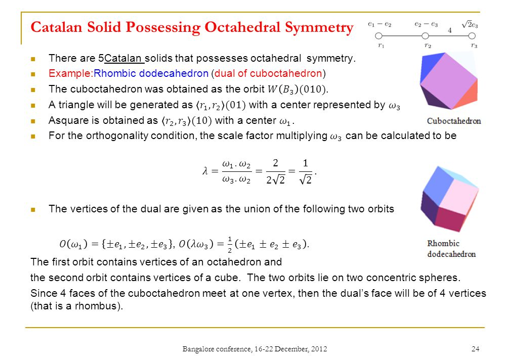 Catalan Solid Possessing Octahedral Symmetry Bangalore conference, 16-22 December, 2012 24