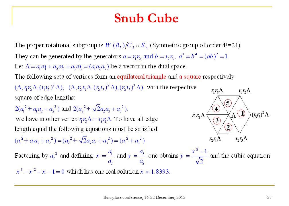 Bangalore conference, 16-22 December, 2012 27 Snub Cube