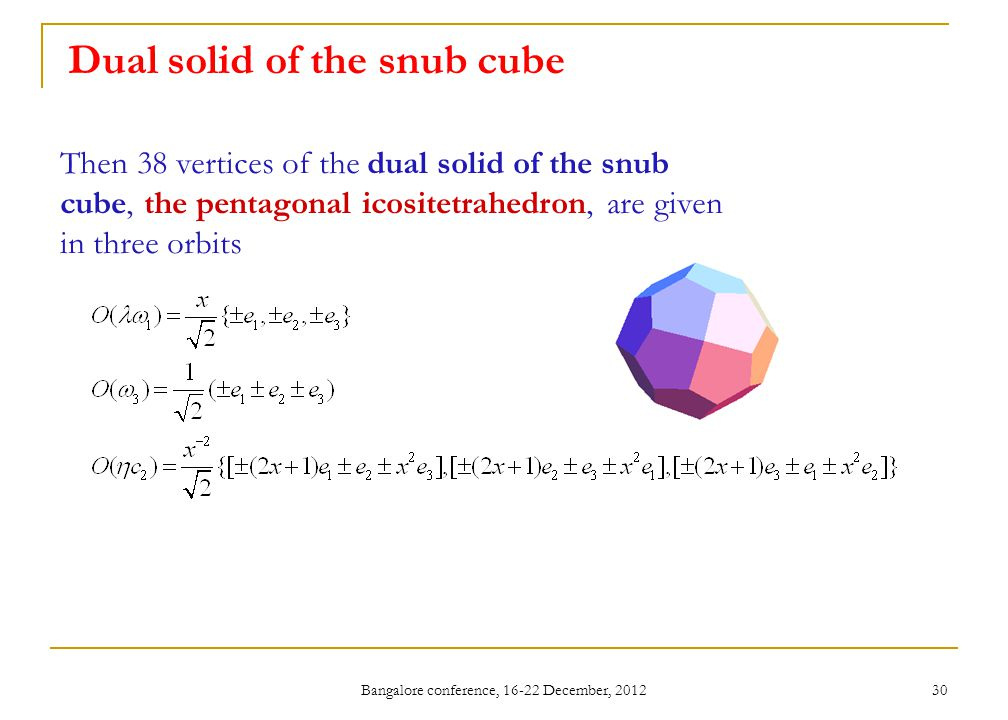 Bangalore conference, 16-22 December, 2012 30 Dual solid of the snub cube Then 38 vertices of the dual solid of the snub cube, the pentagonal icositetrahedron, are given in three orbits