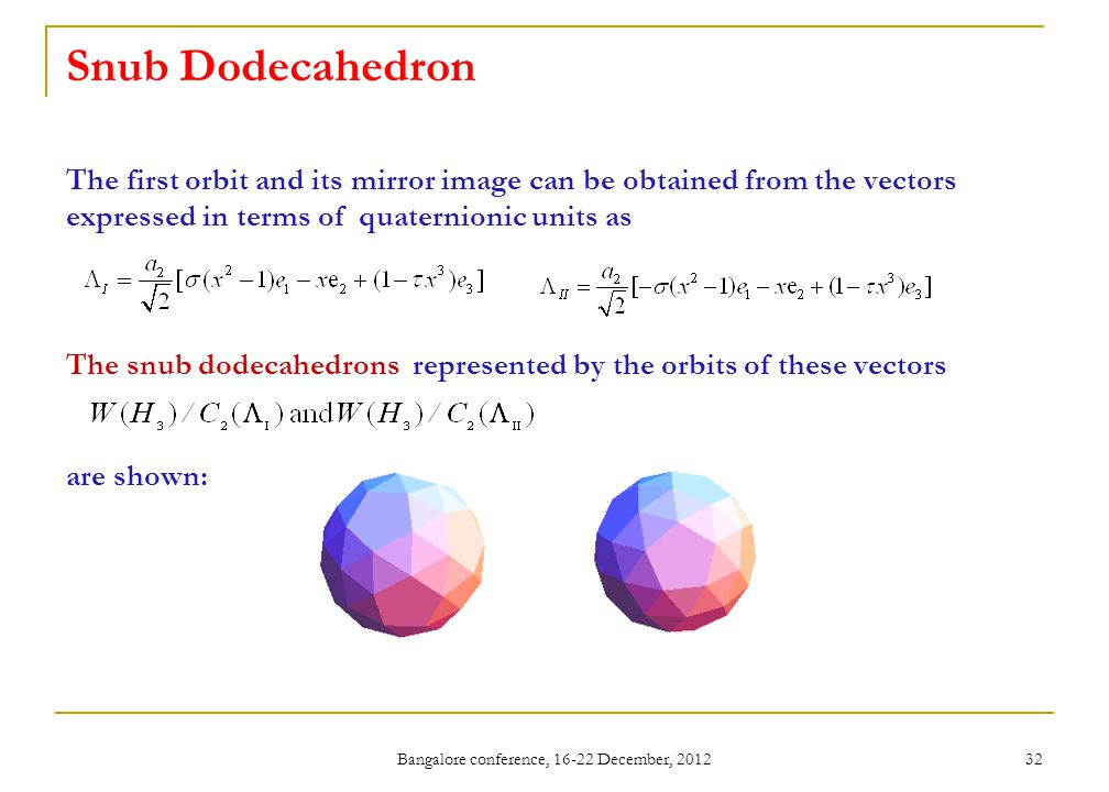 Bangalore conference, 16-22 December, 2012 32 Snub Dodecahedron The first orbit and its mirror image can be obtained from the vectors expressed in terms of quaternionic units as The snub dodecahedrons represented by the orbits of these vectors are shown: