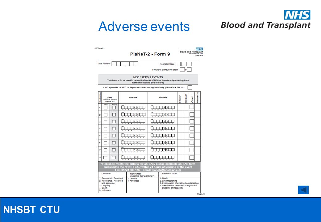 NHSBT/MRC Clinical Studies Unit Adverse events NHSBT CTU