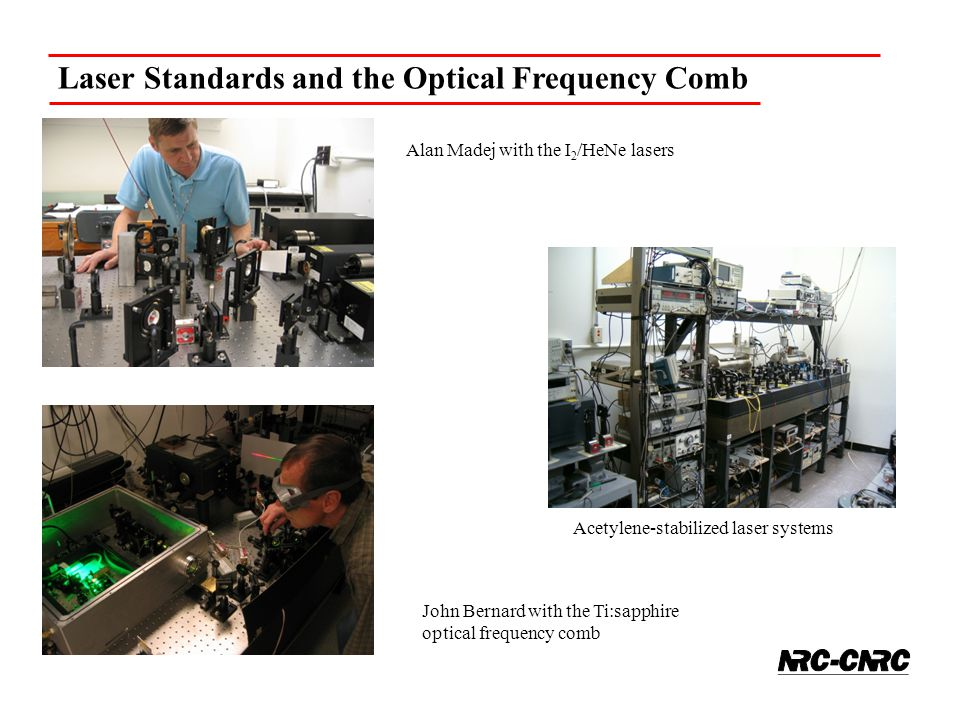 Laser Standards and the Optical Frequency Comb Acetylene-stabilized laser systems John Bernard with the Ti:sapphire optical frequency comb Alan Madej