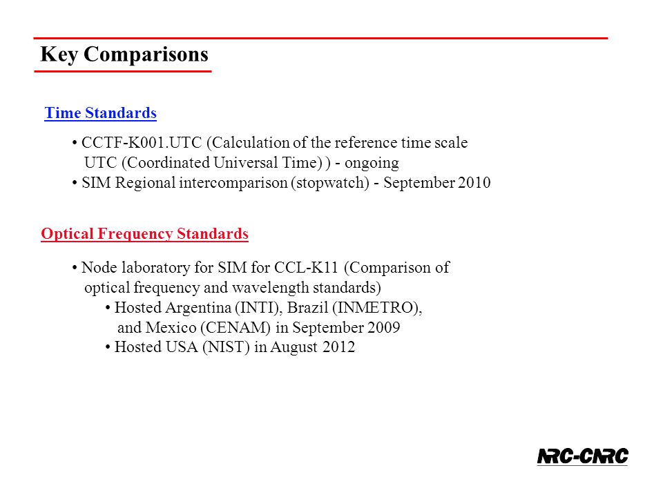 Time Standards CCTF-K001.UTC (Calculation of the reference time scale UTC (Coordinated Universal Time) ) - ongoing SIM Regional intercomparison (stopw