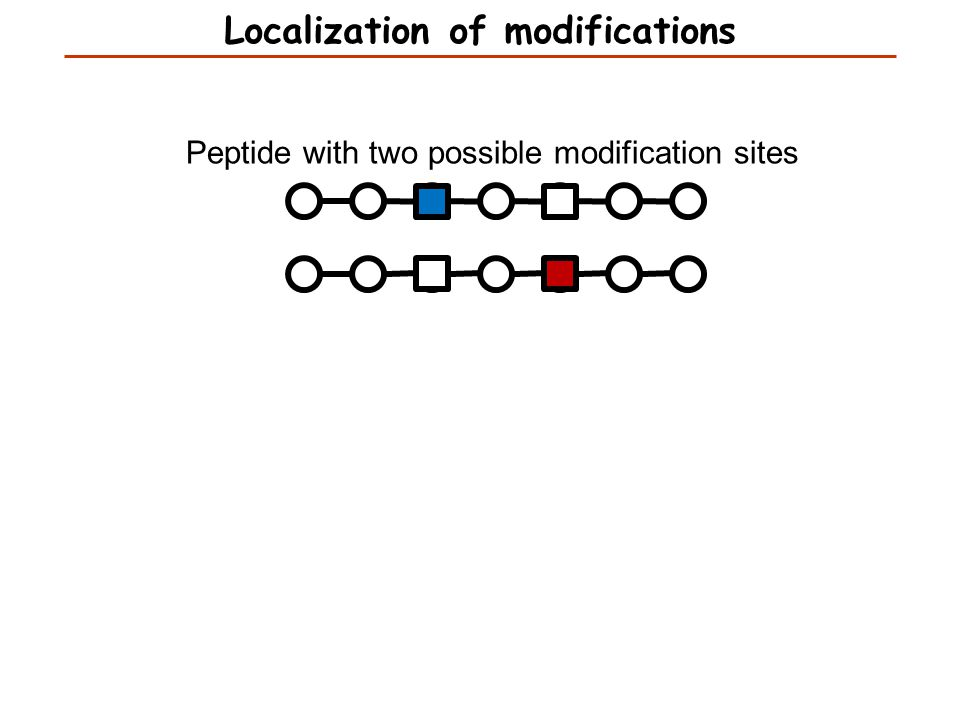 Peptide with two possible modification sites Localization of modifications