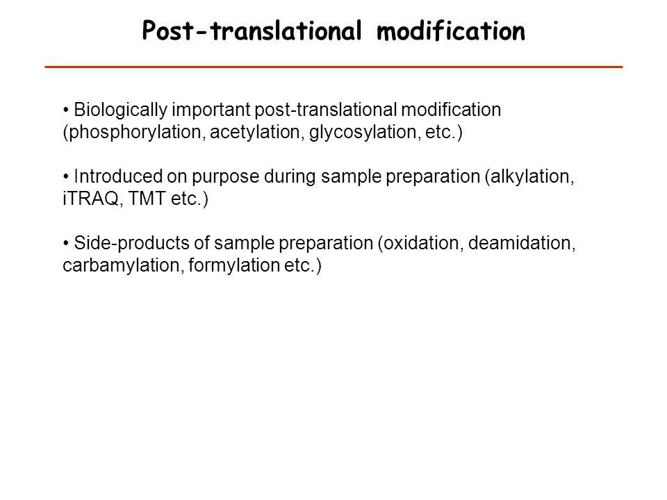 Post-translational modification Mann and Jensen, Nature Biotech. 21, 255 (2003)