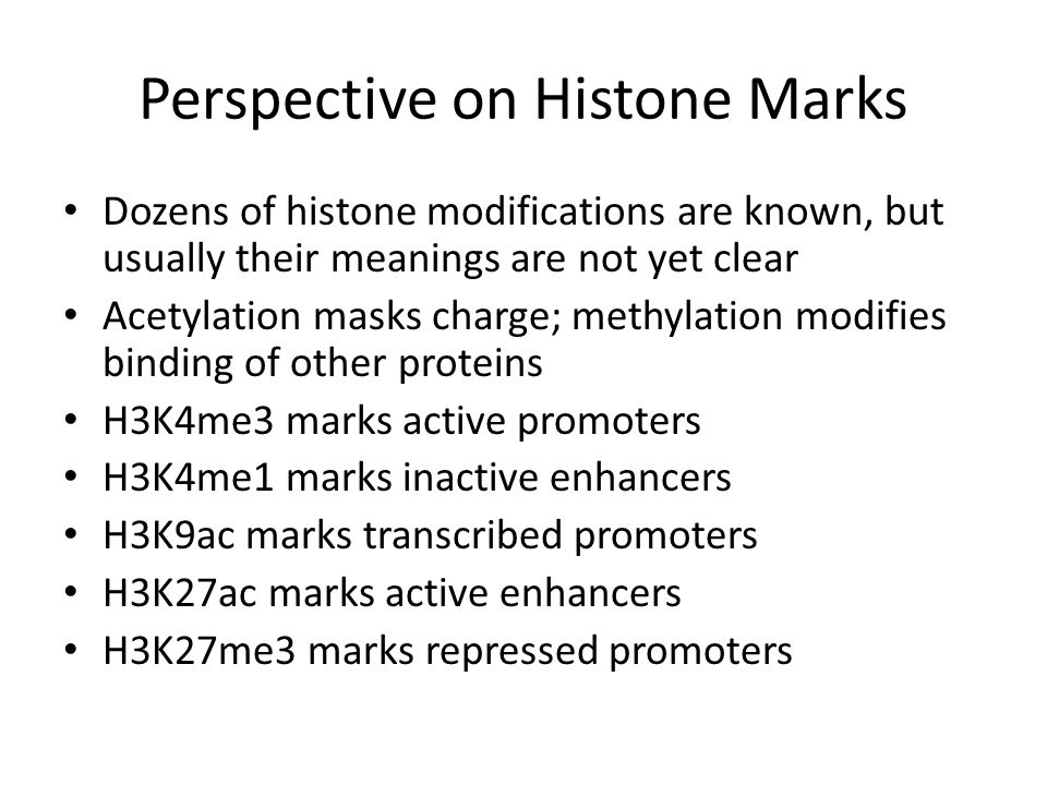 Perspective on Histone Marks Dozens of histone modifications are known, but usually their meanings are not yet clear Acetylation masks charge; methylation modifies binding of other proteins H3K4me3 marks active promoters H3K4me1 marks inactive enhancers H3K9ac marks transcribed promoters H3K27ac marks active enhancers H3K27me3 marks repressed promoters