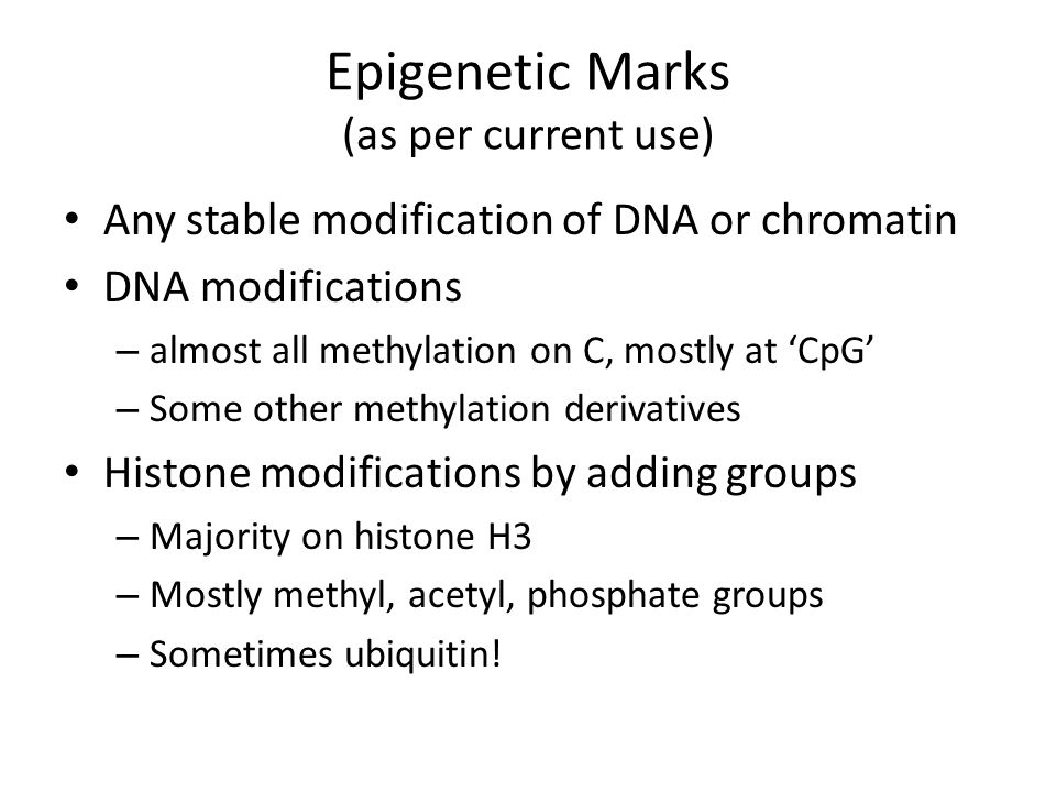 Epigenetic Marks (as per current use) Any stable modification of DNA or chromatin DNA modifications – almost all methylation on C, mostly at 'CpG' – Some other methylation derivatives Histone modifications by adding groups – Majority on histone H3 – Mostly methyl, acetyl, phosphate groups – Sometimes ubiquitin!