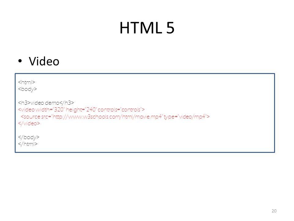 HTML 5 Video 20 video demo