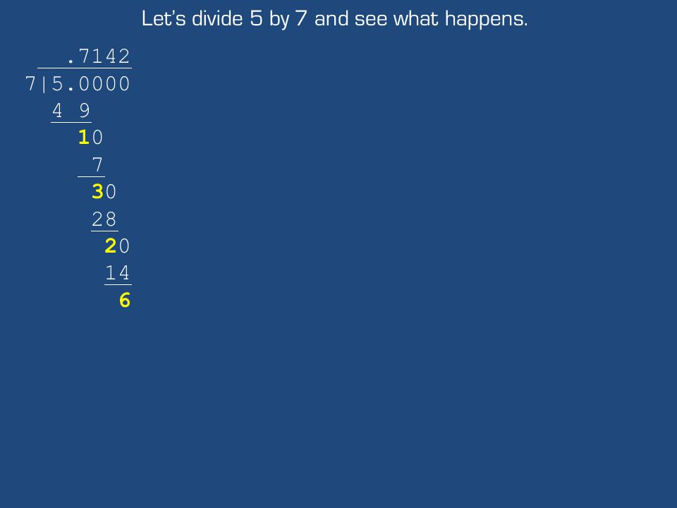 Let's divide 5 by 7 and see what happens..7142 7|5.0000 4 9 10 7 30 28 20 14 6
