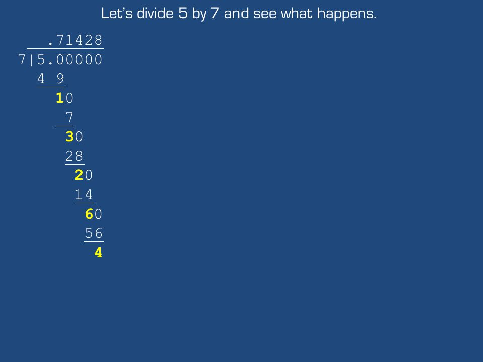 Let's divide 5 by 7 and see what happens..71428 7|5.00000 4 9 10 7 30 28 20 14 60 56 4