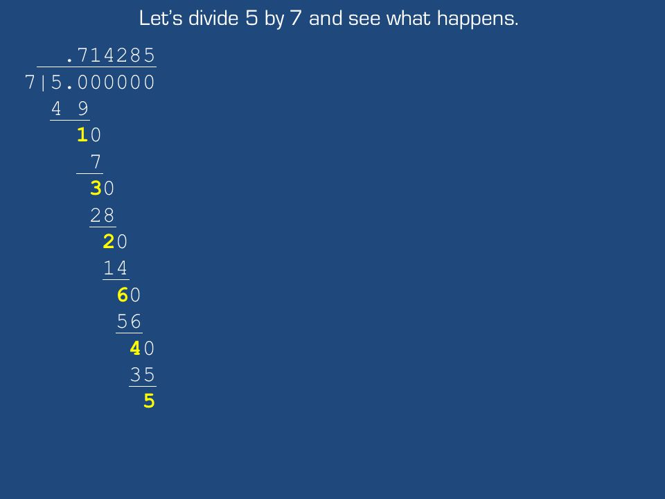 Let's divide 5 by 7 and see what happens..714285 7|5.000000 4 9 10 7 30 28 20 14 60 56 40 35 5