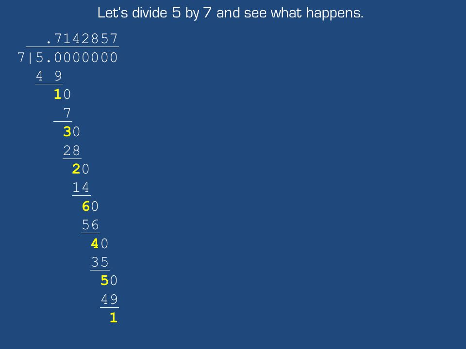 Let's divide 5 by 7 and see what happens..7142857 7|5.0000000 4 9 10 7 30 28 20 14 60 56 40 35 50 49 1
