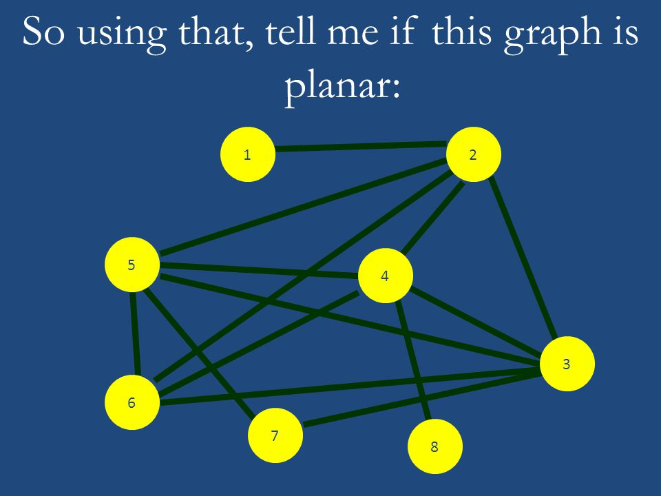 So using that, tell me if this graph is planar: 6 2 3 4 8 7 5 1